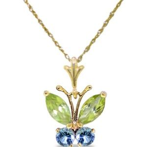 Jewelry - 0.6 Ct14K Solid Gold Butterfly Necklace Blue Topaz